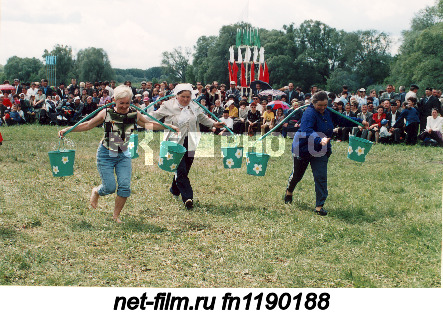 "Participants of the competition ""Running with a rocker"" during the Tatar national holiday Sabantuy..."