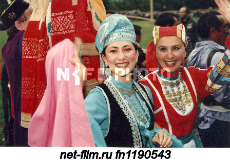 Participants of the Tatar national holiday Sabantuy in national costumes in the Republic of...