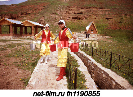 "Girls of the village of Turaevo near the spring ""Tau Asty"" (Podgorny Key) of the Mendeleevsky..."
