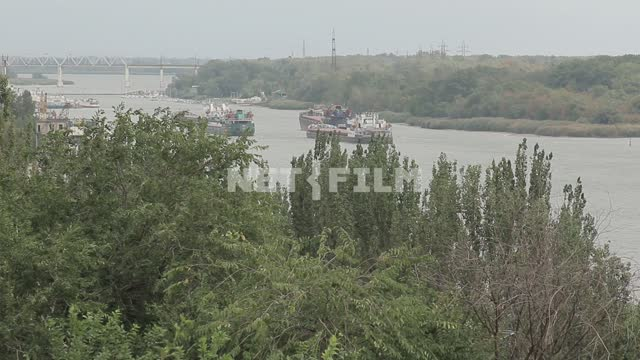 The view of the river. Navigation, ships, river, shore, trees, bridge, tree tops Navigation, ships,...