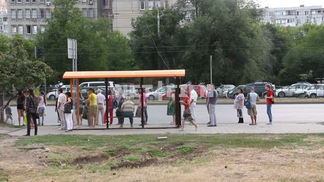 People waiting at the bus stop. Bus, minibus, taxi, people, passengers, stop, road, cars Bus,...