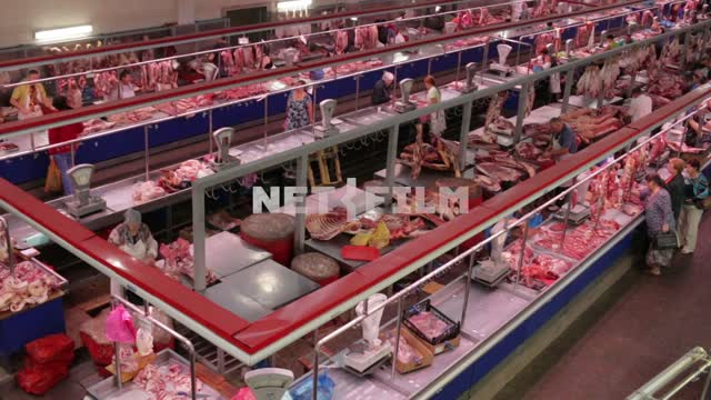 Top view of the meat series. Market meat series, beef series, meat cutting, top view, scale, pack,...
