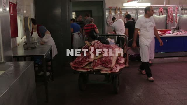 Truck with meat on the market. Market meat series, beef series, meat, butchering, truck,...