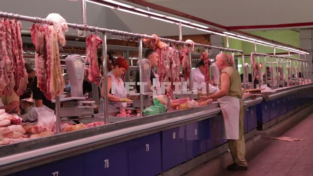 A number of meat on the market. Morning, market, meat series, meat series, meat, butchering,...