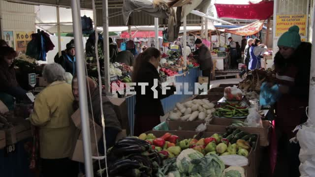 Buyers in the market. Market, Russia, vegetables, fruits, flower series, stalls Market, Russia,...