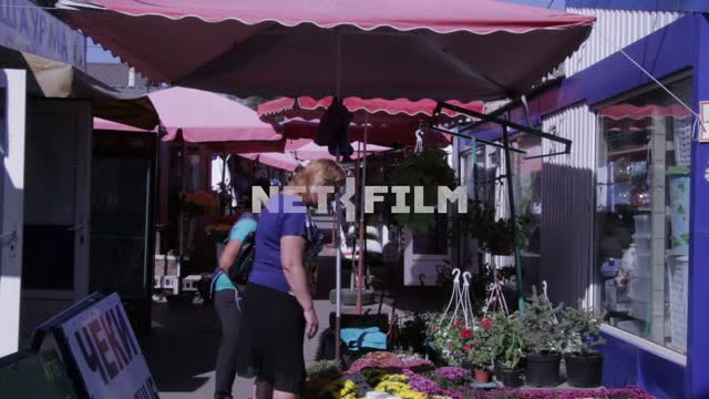 A woman buys flowers on the market. Market, Russia, summer, flowers, floral row stalls Market,...