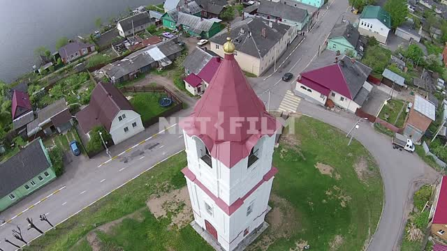 Russia, the city of Sebezh, flying with quadcopter over the Castle hill, view from above, around...