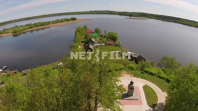 Aerial photography, koperna shooting, the memorial sign in the town of Sebezh, around water space...
