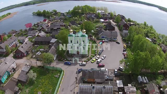 Aerial photography, Sebezh, flying at d city, the Church of the Holy Trinity at the top, around the...