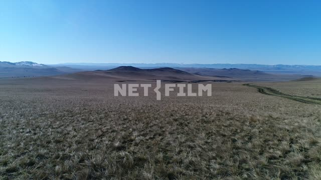 Aerial photo, survey copter, . Mountains in the distance, sky high, open spaces. Nature. Aerial...