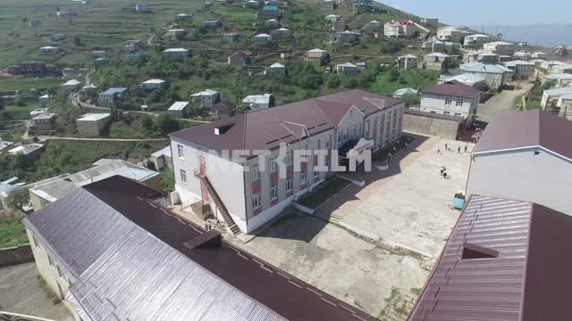 Aerial photo, survey copter, Dagestan village of Kubachi, school Aerial photo, survey copter,...
