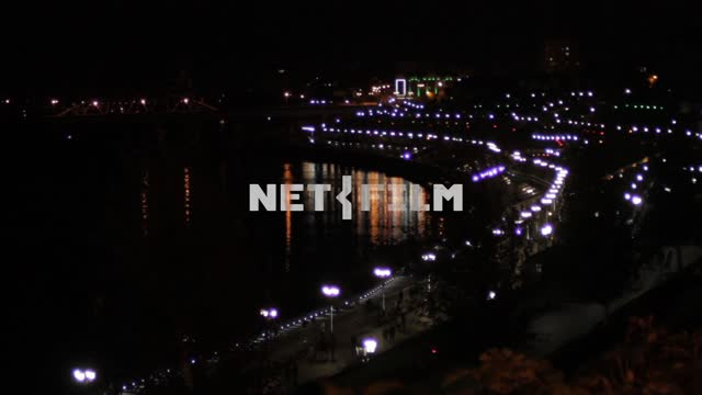 View of embankment at night. River, town, waterfront, summer, spring, heat, lights, illuminations,...