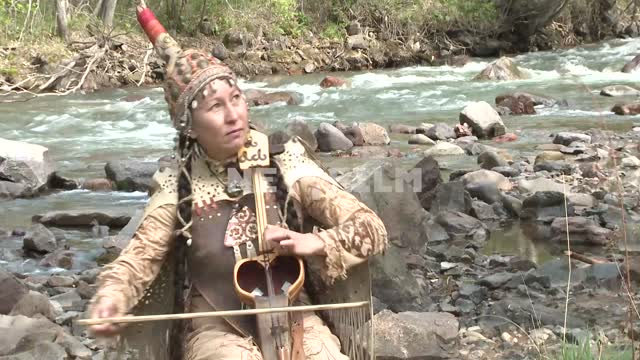 Kabasci Kazakhstan Raushan urazbayeva (the performer on the instrument kobyz) plays the national...
