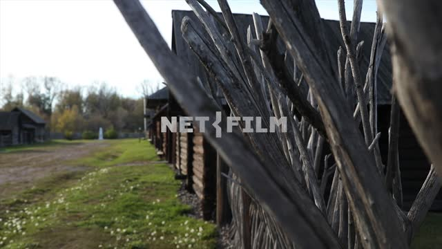 Village street, wooden fence Village street, wood fence, countryside, Outback, nature, natural life