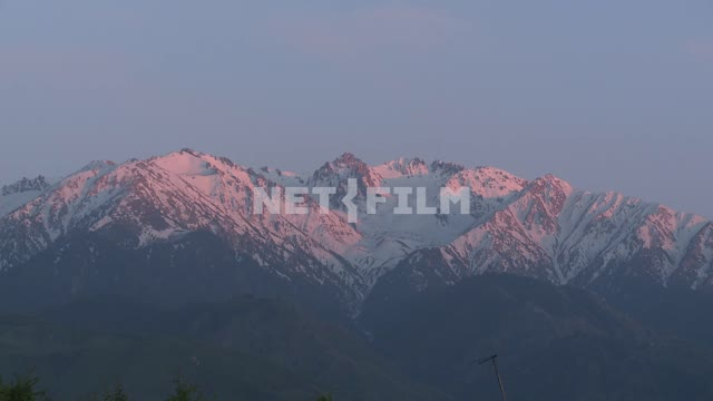 Pink snow-capped mountains, Sky, mountains, dawn, nature Pink snow-capped mountains, Sky,...