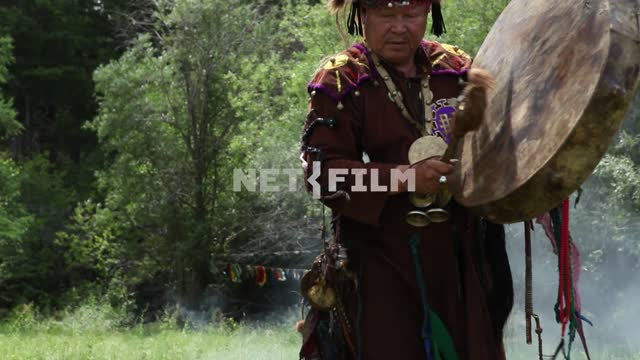 The Supreme shaman of Russia Dopchun Kara-ool, Tulasiewicz on the rite, beats the drum, Shamanism,...