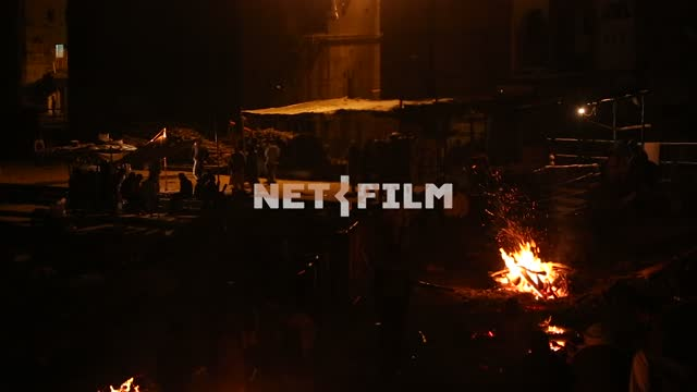 Indian men on the street at night bonfires Indian men, street, night, bonfire, fire, exotics,...