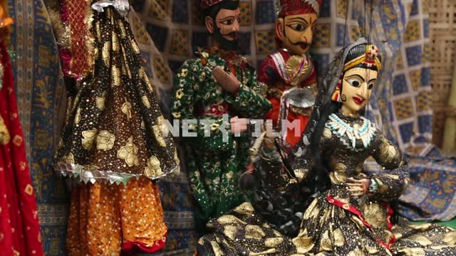 Dolls - heroes of the East skazki act things out in puppet theater Dolls, marionette theatre,...