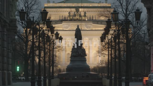 View of the Alexandrinsky theatre, St. Petersburg during a pandemic 2020. Russia, Saint-Petersburg,...
