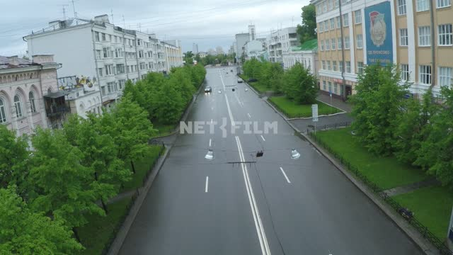 A deserted street during a pandemic, 2020. Russia, Yekaterinburg, city, - isolation, quarantine,...