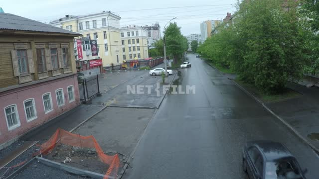 Deserted street in Yekaterinburg during a pandemic 2020, lonely car rides. Russia, Yekaterinburg,...