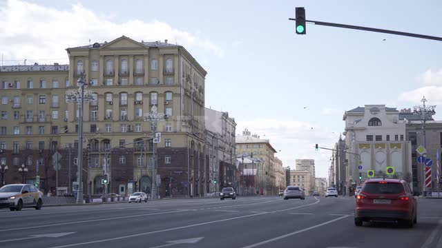 The center of Moscow during rush hour during quarantine. Empty streets, few cars quarantine, virus,...