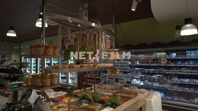 Grocery store, shopping hall Shop, deli, food, food, shopping hall, showcases, counters,...