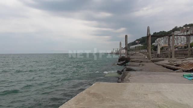 Black Sea, rocky shore, aerarium, waves Black, sea, rocky, shore, waves, aerarium