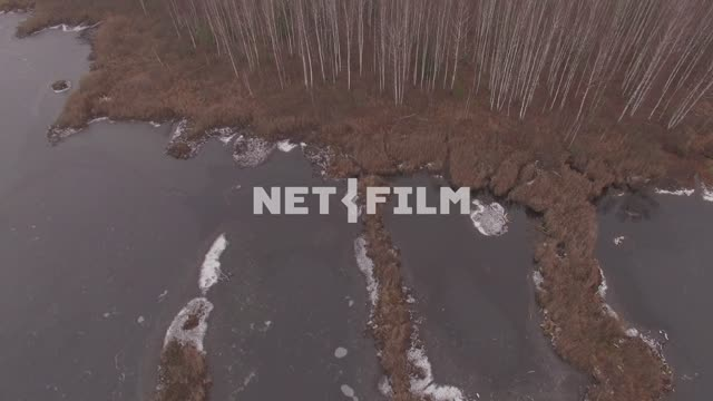 Aerial photo of autumn forest and frozen swamps with a quadcopter The aerial photo. Nature. General...