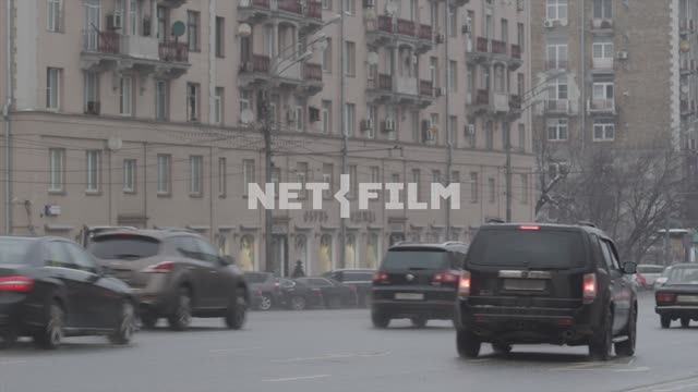 The traffic in the center of Moscow on cloudy day. Moscow The city Street The Center Of...