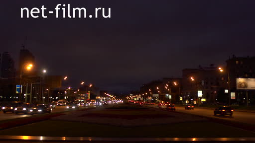 The movement of vehicles through the city. Moscow. Machine Lights Street Road Summer