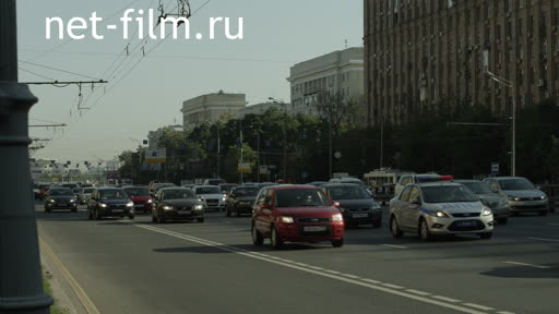 The traffic on Prospect Mira. Moscow. Summer. Day. metro Alekseevskaya. The sky is clear.