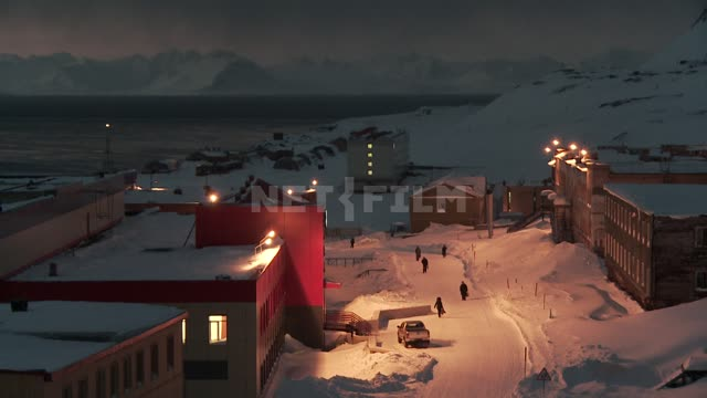 Top view of the street and the buildings of the village of Barentsburg. Russian North, street,...