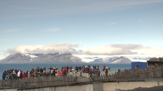 Tourists on the observation deck Russian North, sea, snowcapped mountain, tourist, fence,...