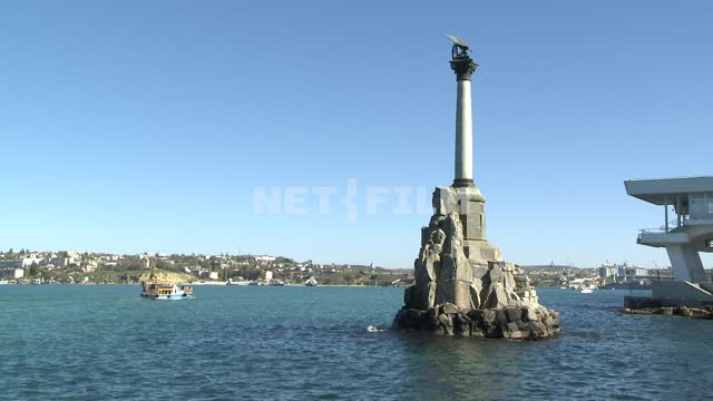 Monument to the scuttled ships in Sevastopol. Sevastopol. Crimea. Architecture. Sea. Monument. Day.