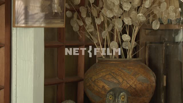 The stones on the shelf next to a vase of dried flowers in the house-Museum M. A. Voloshin...