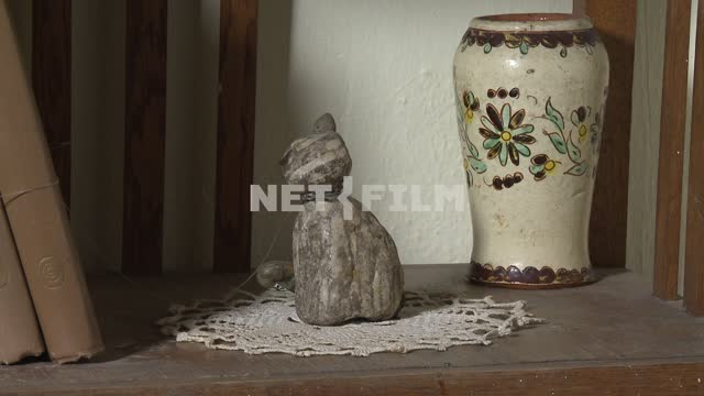 "Hack stone ""Cat"" and painted a vase standing on a shelf in the house Voloshin M. A. Koktebel, vase,..."