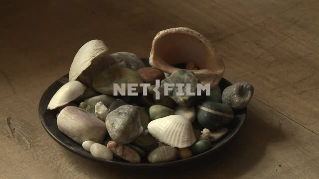 Dish with shells and sea pebbles on the table of M. A. Voloshin Koktebel, stones, pebbles, shells,...